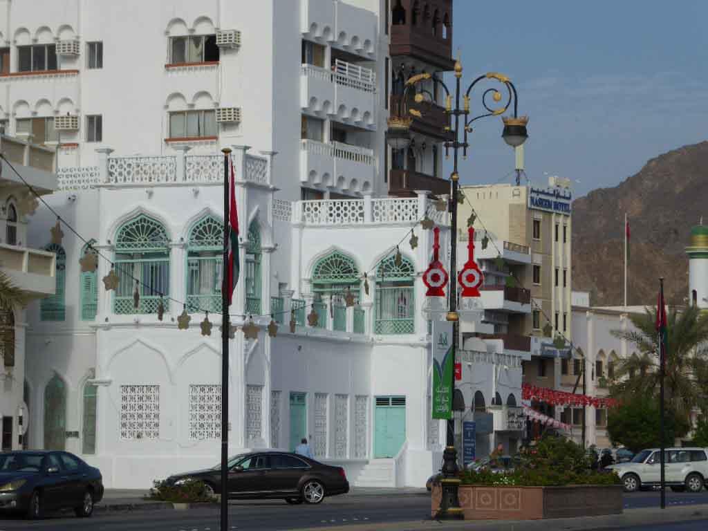 Facades on the corniche in Muttrah