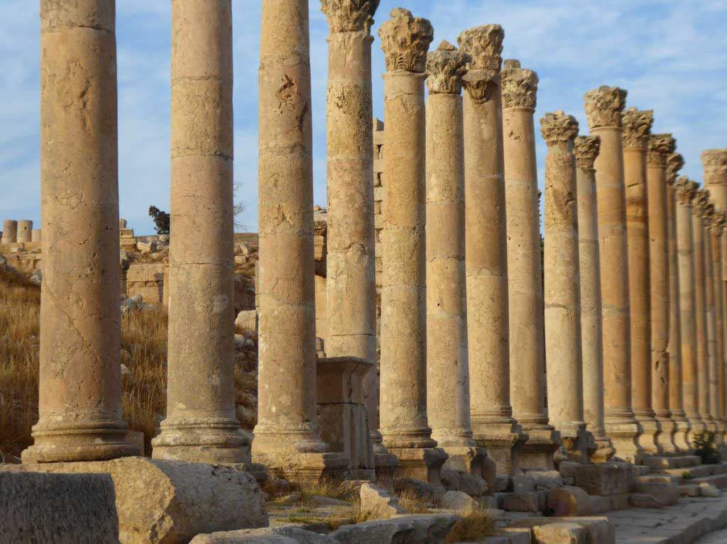 Jerasa, Jordan, columns, sunset, beautiful Roman ruins
