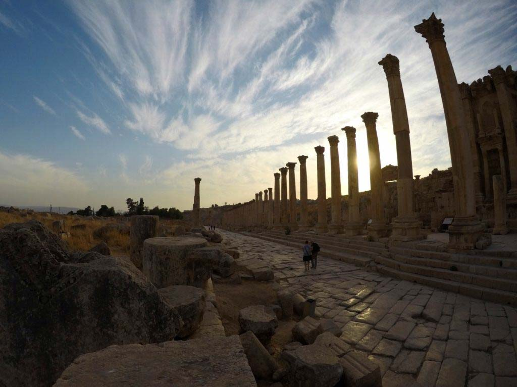 Gerasa, Jordan, columns, sunset, beautiful Roman ruins
