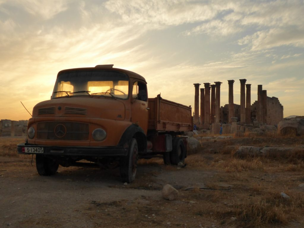 Jerash, Jordan, beautiful Roman ruins, favourite city in Jordan, old car