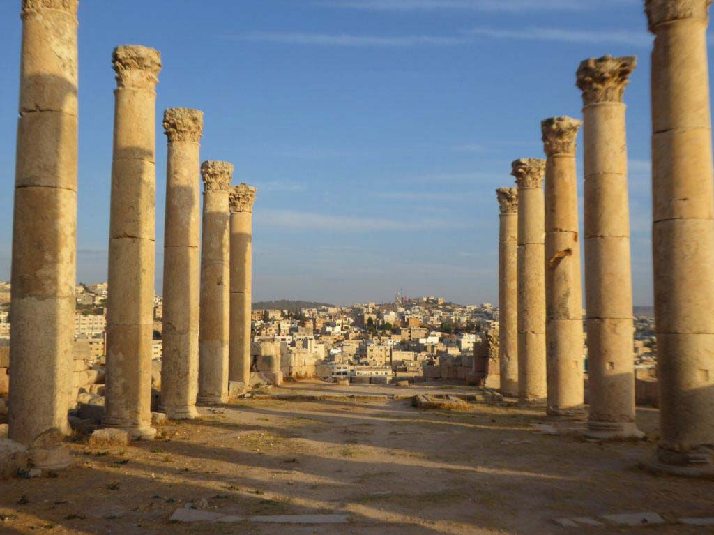 Jerash, Jordan, Roman ruins, sunset, beautiful