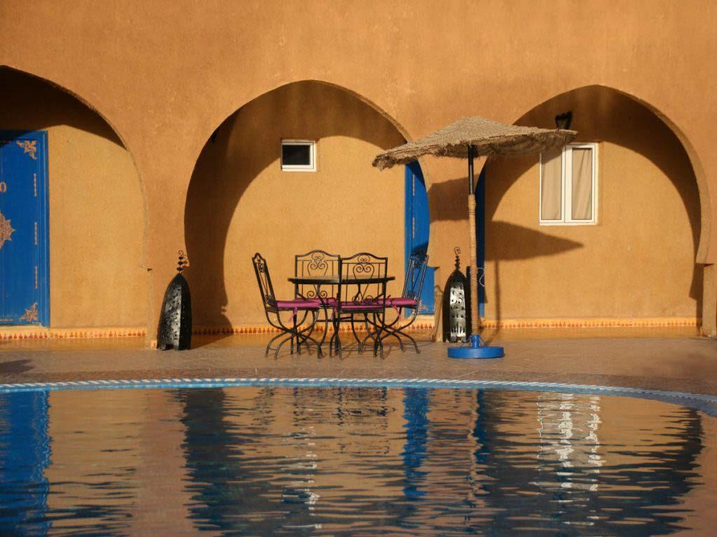 Riad Ali Merzouga, sunset, pool, coffee table, where to stay in Merzouga