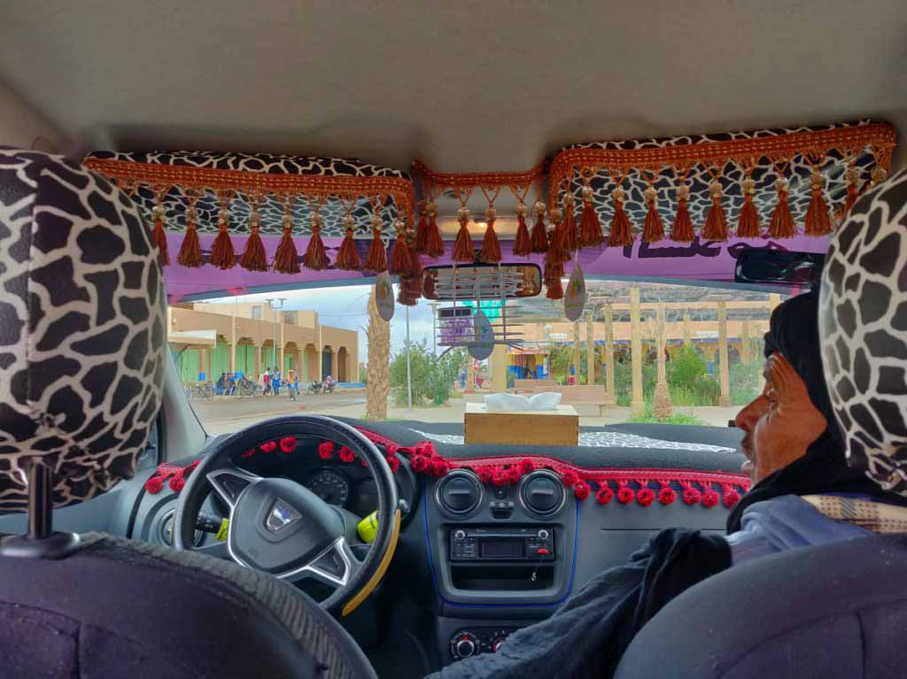 interior of grand taxi in morocco