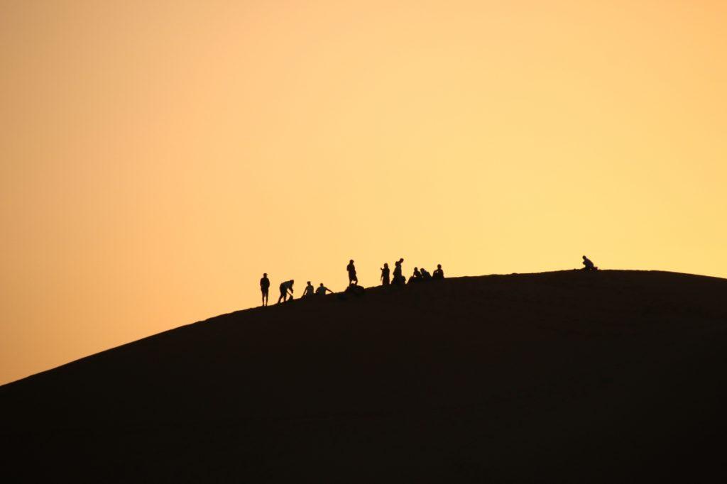 Merzouga, sand dunes, sunset