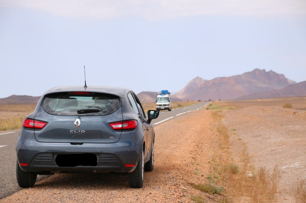 Renault Clio, rental car for one week Morocco road trip, desert, mountains