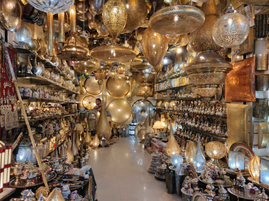 typical Moroccan lamps in a shop in the souk, great Moroccan souvenir