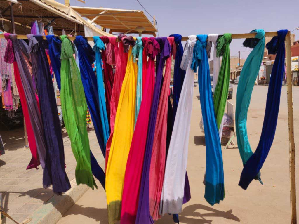 Colourful scarves in a shop in Merzouga Morocco