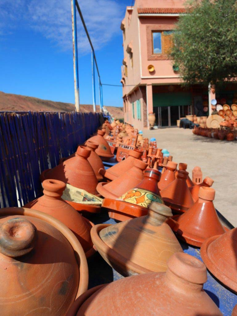 tajine dishes in front of a shop in Morocco