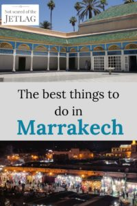 Pin the best things to do in Marrakech, picture of Bahia Palace and Jemaa al fna