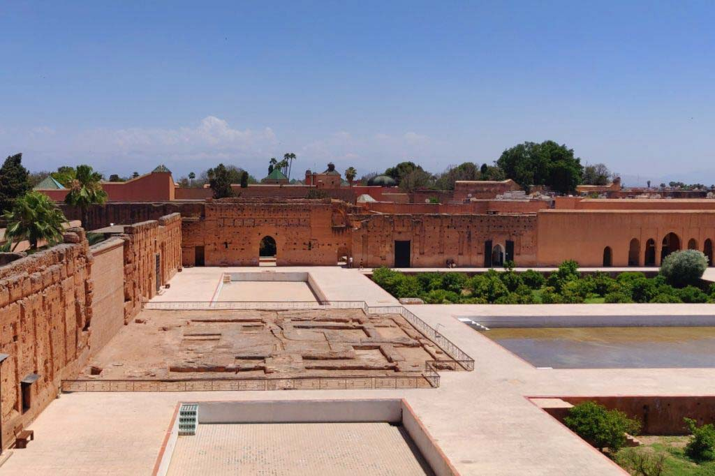 Courtyard of the El Badi Palace, ruins, pool, garden, one of the best things to do in Marrakech