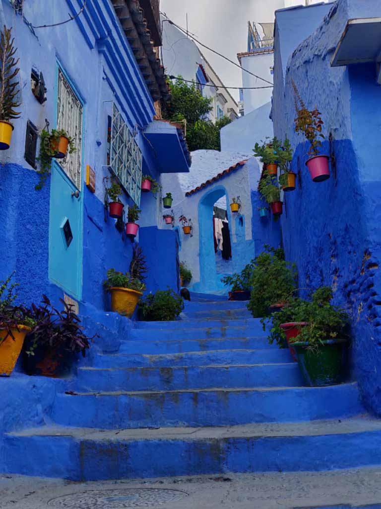 stairs in blue city, chefchaouen