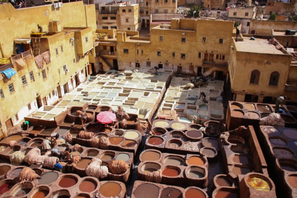colourful tannery in Fes, Morocco