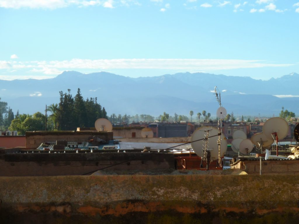 Atlas mountain view from rooftop in Marrakech