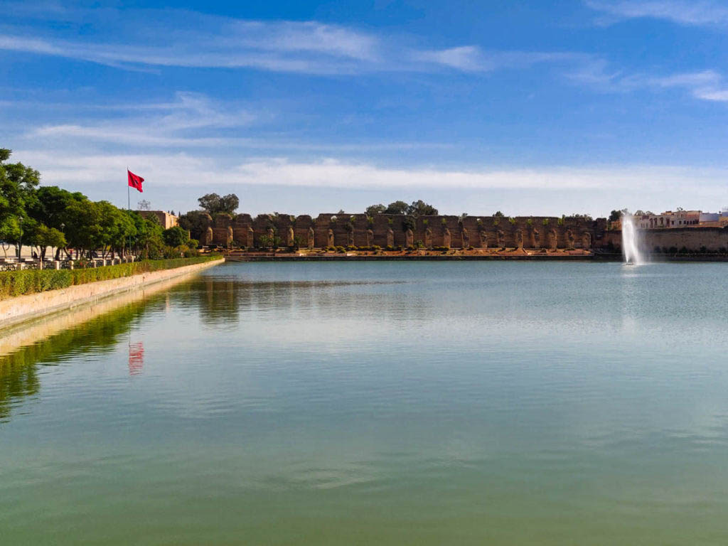 Large artificial lake with fountain in the back, Basin d'Agdal in Meknes