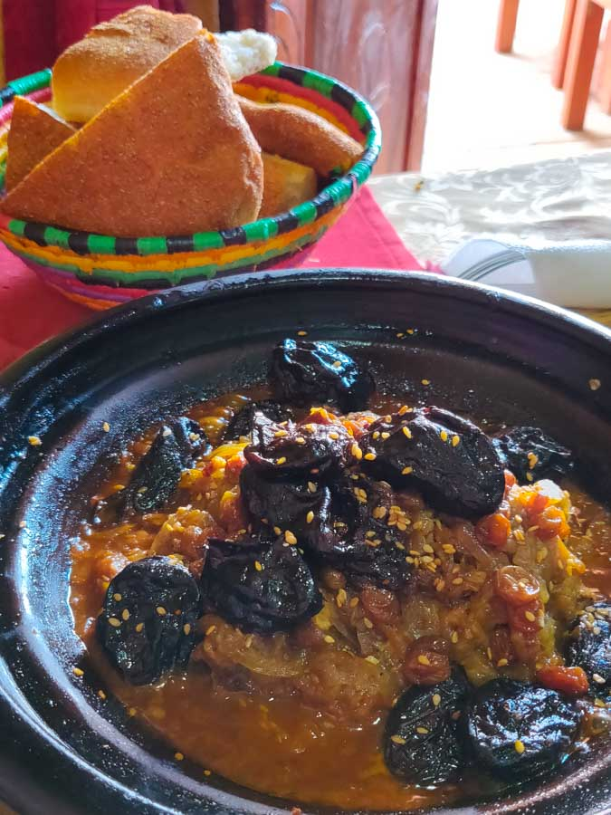 Tajine, the iconic traditional Moroccan food, here with lamb and prunes and raisins.