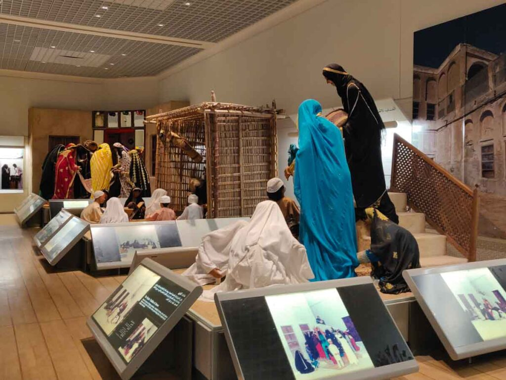 Exhibition in the National Museum of Bahrain with life size mannequins portraying typical scenes from Bahraini life. Great thing to do in Bahrain with kids
