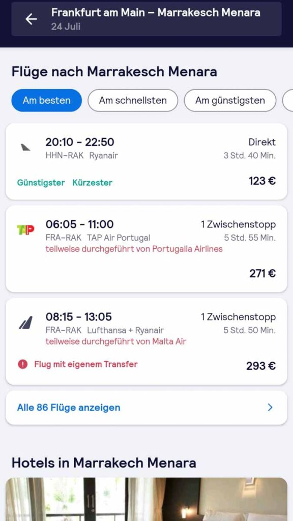 screenshot of the skyscanner app, the best travel app for booking flights